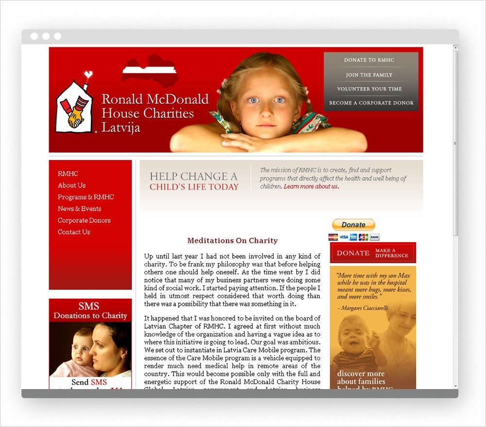 Diatom Enterprises participated in development of web site for charity organization Ronald McDonald House Charity