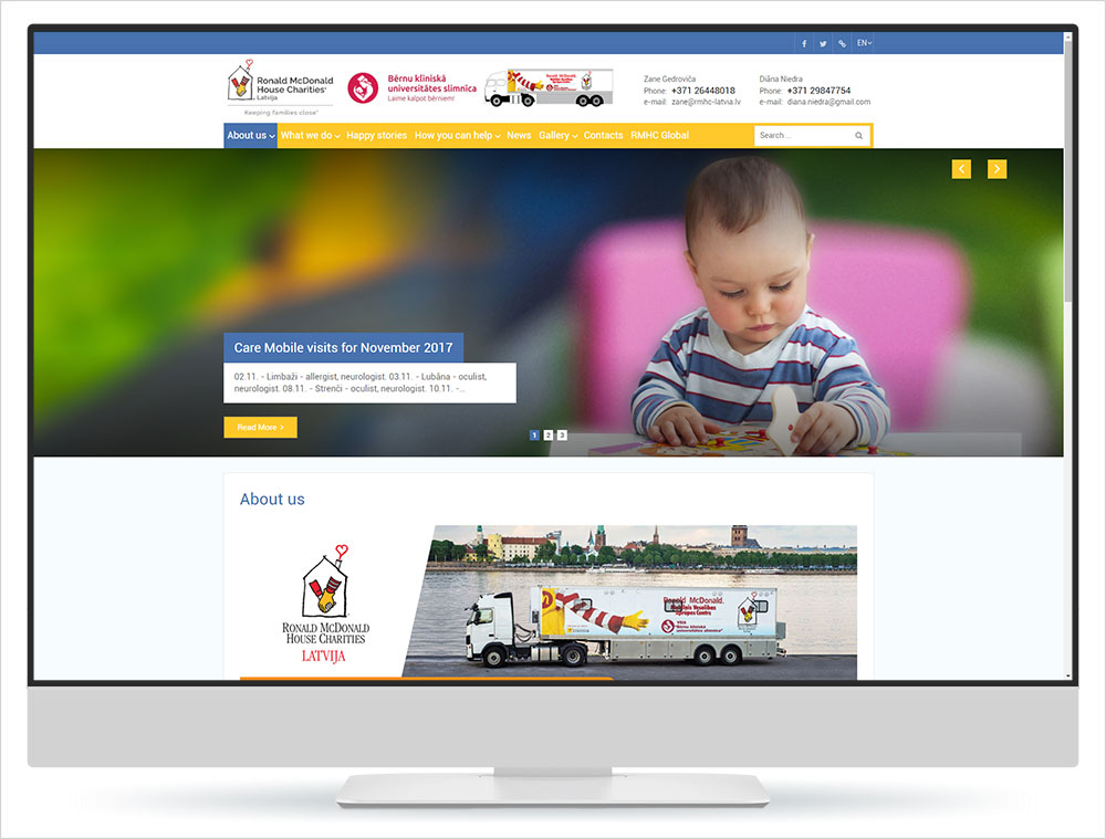 Re-design of Ronald McDonald House Charities Latvia website