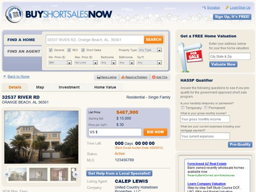 Short sale online marketplace - the design of the page