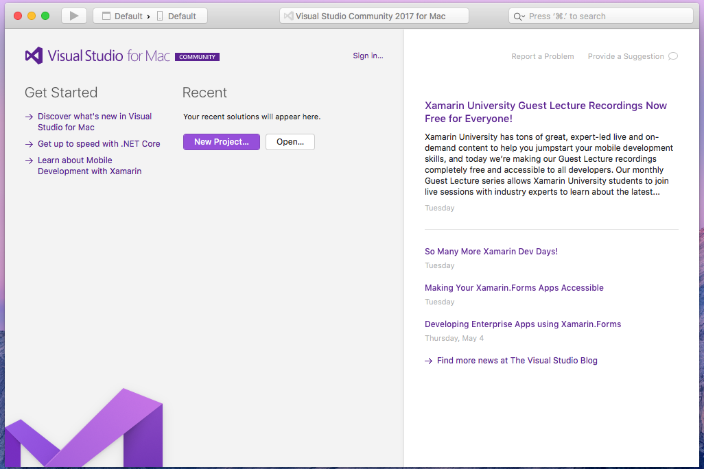 Running Visual Studio Community edition on macOS