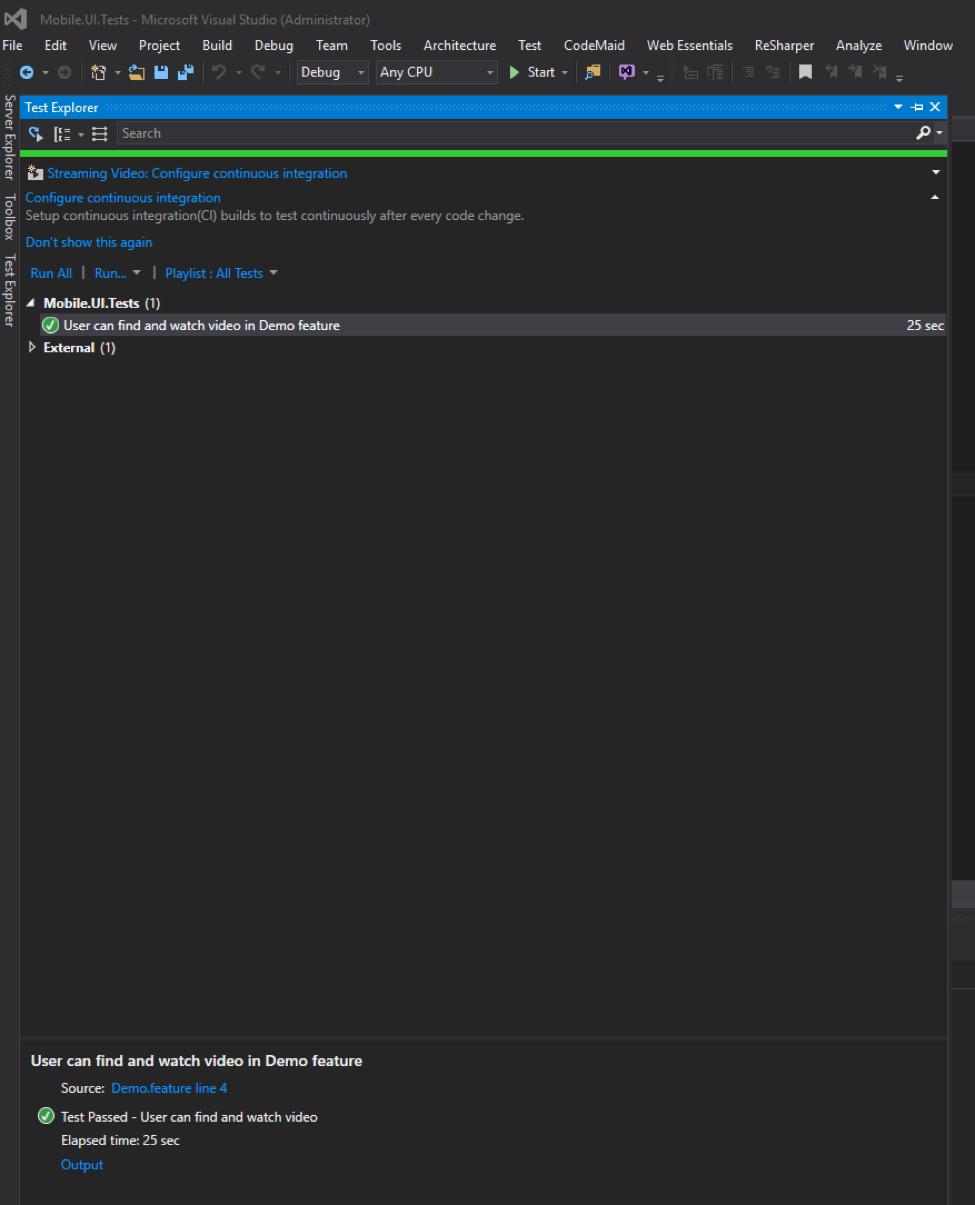 Test result in Visual Studio