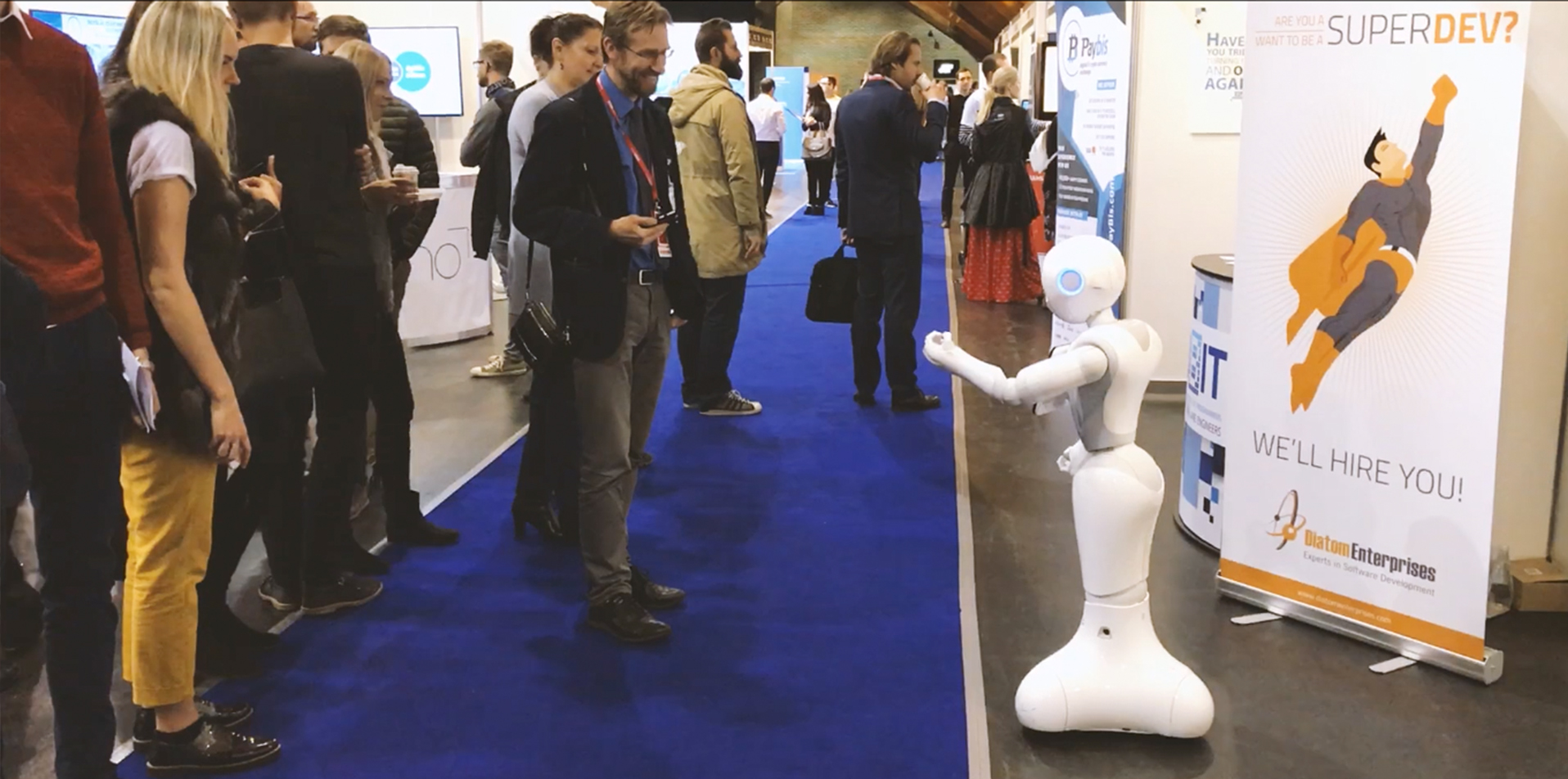 Pepper communicates with visitors