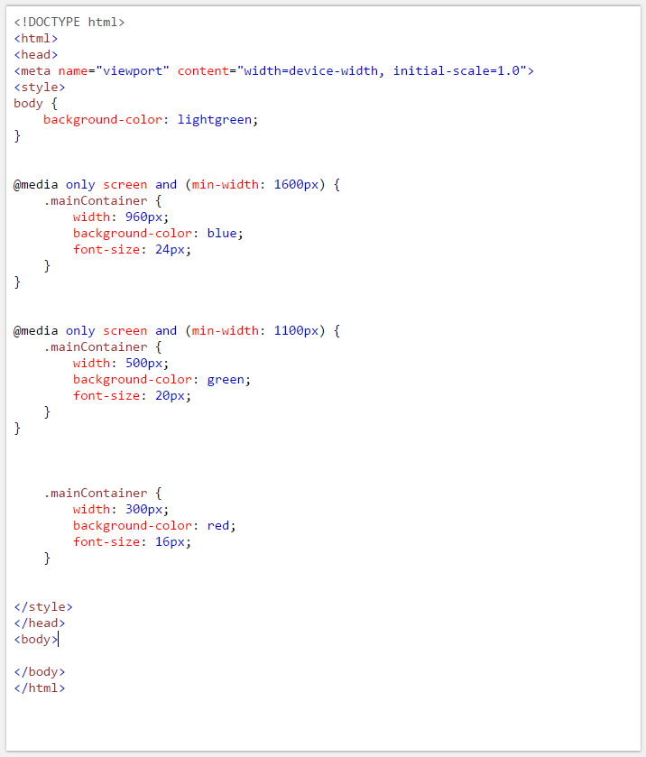 Example of CSS Media Queries in Adaptive Layout