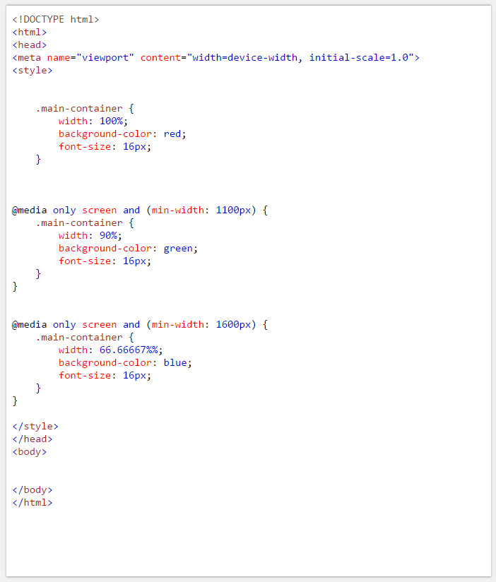 Example of CSS Media Queries in Responsive Layout