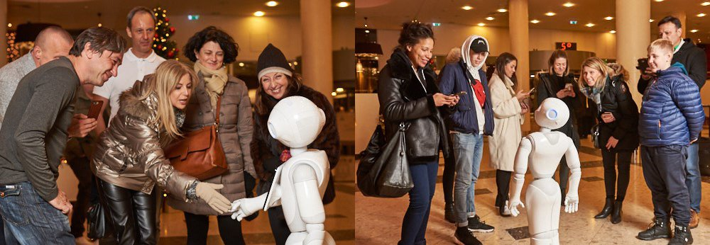 Robot Pepper is communicating with the visitors of Radisson Blu Latvia